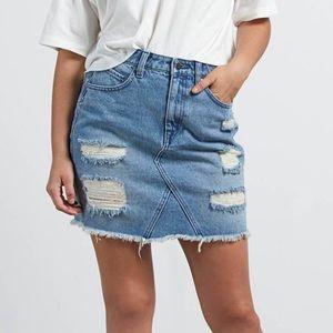NWT Volcom High Waist Denim Jean Distressed Skirt